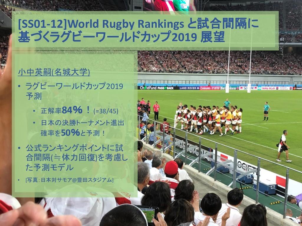 [SS01-12]World Rugby Rankings と試合間隔に 基づくラグビーワール...