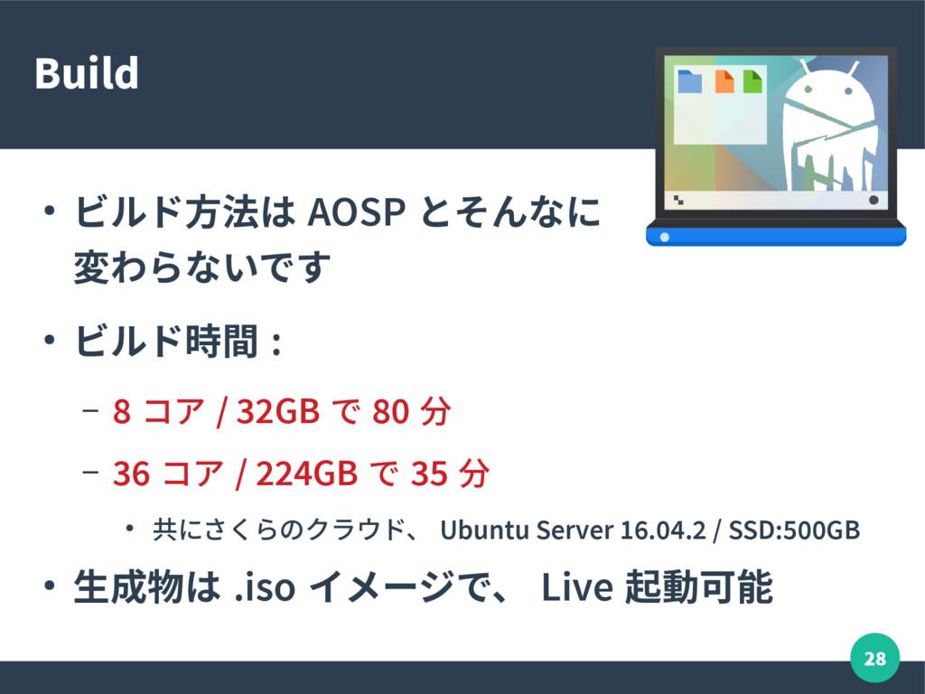 28 Build ● ビルド方法は AOSP とそんなに 変わらないです ● ビルド時間 : ...