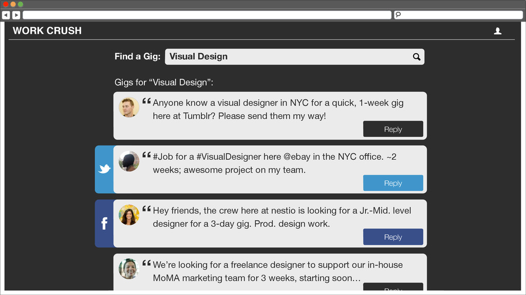 """WORK CRUSH Find a Gig: Visual Design Gigs for """"..."""