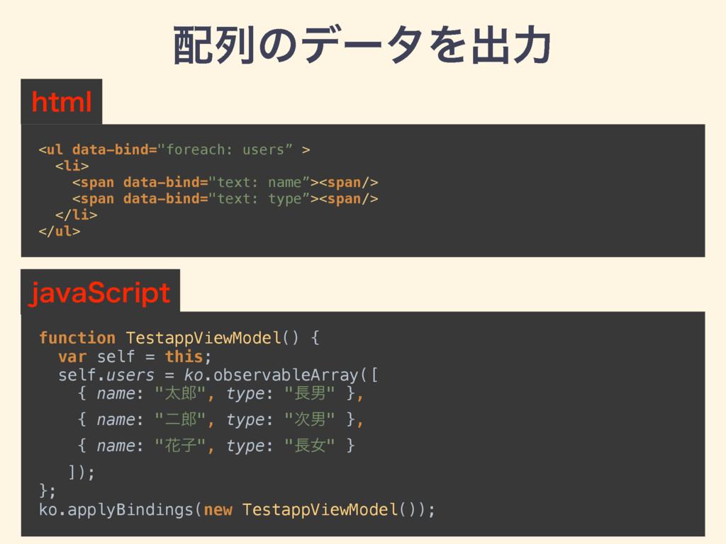 "ྻͷσʔλΛग़ྗ <ul data-bind=""foreach: users"" > <li..."