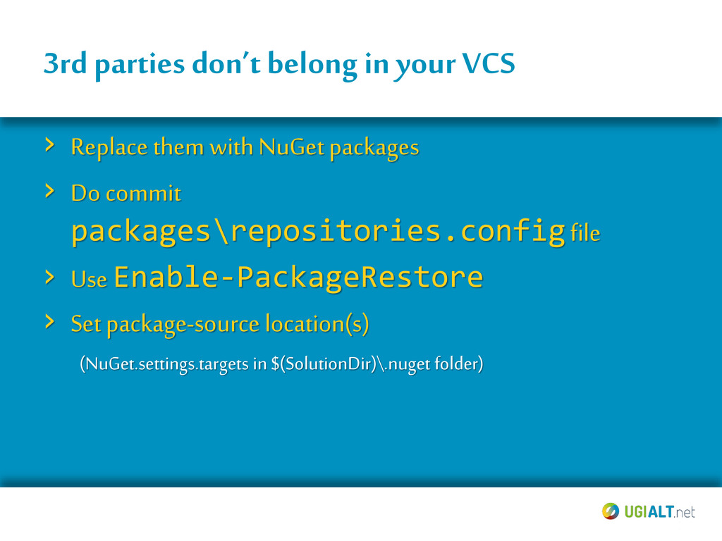 3rd parties don't belong in your VCS › Replace ...