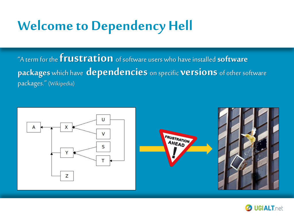 """Welcome to Dependency Hell """"A term for the frus..."""