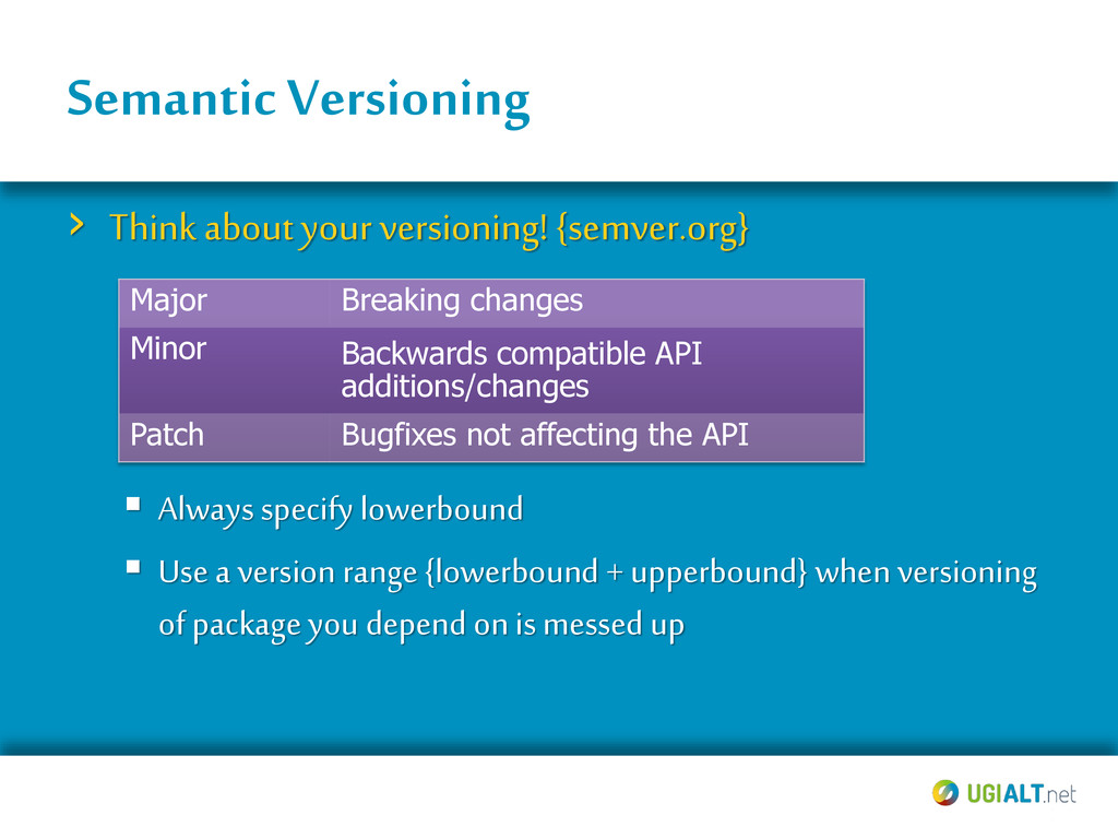 Semantic Versioning › Think about your versioni...