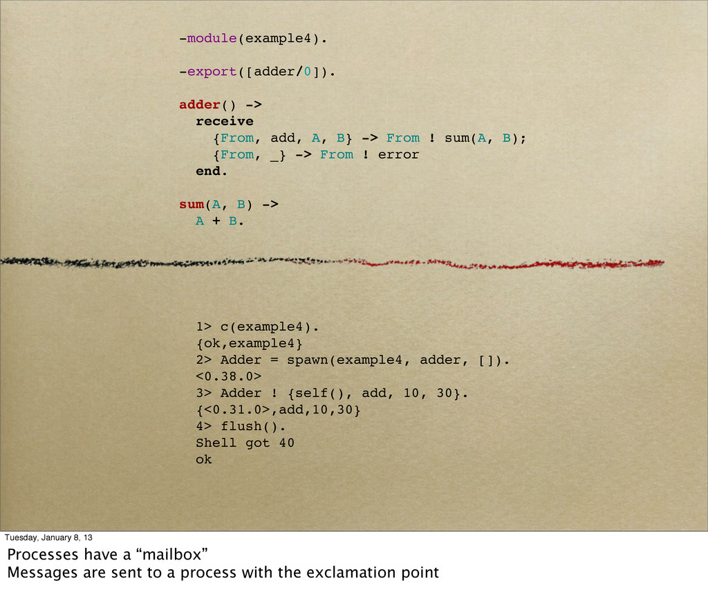1> c(example4). {ok,example4} 2> Adder = spawn(...
