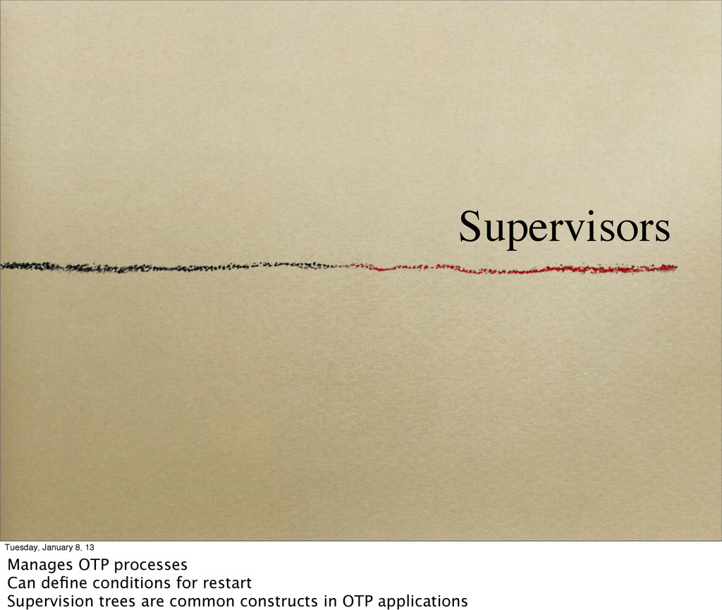 Supervisors Tuesday, January 8, 13 Manages OTP ...