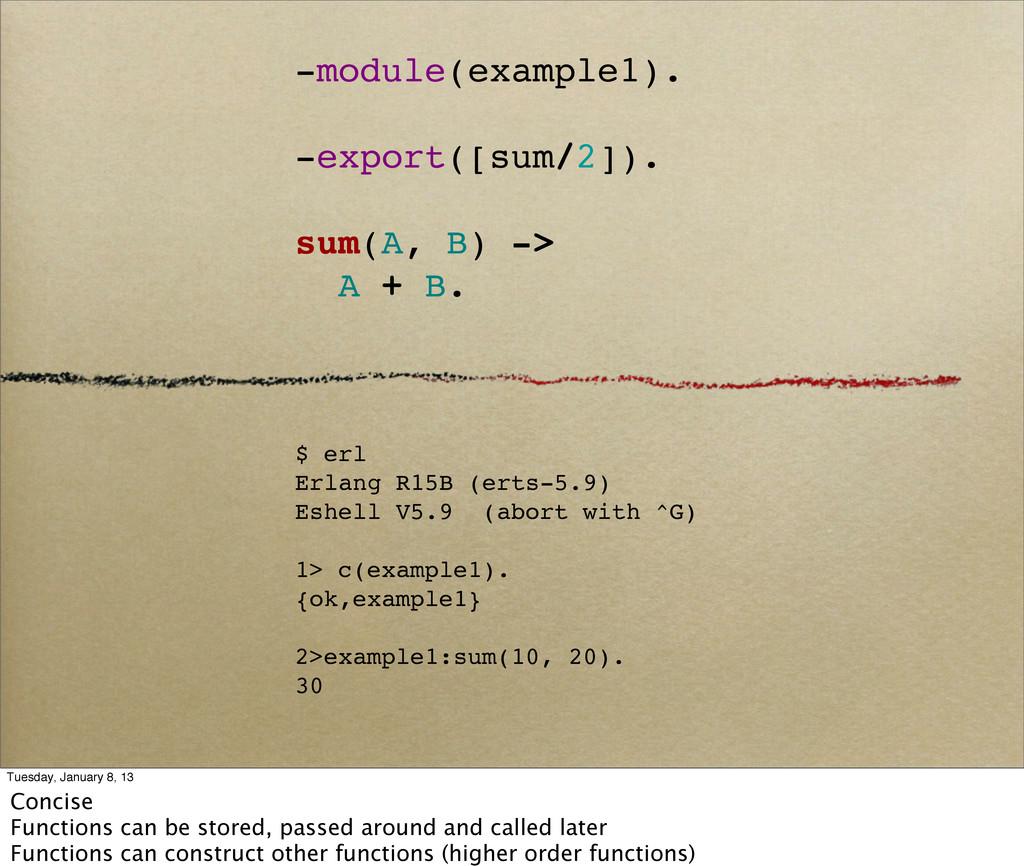 -module(example1). -export([sum/2]). sum(A, B) ...