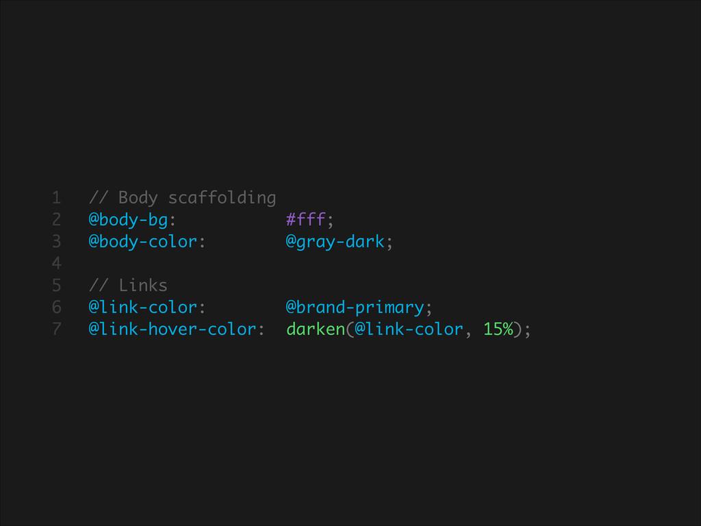 // Body scaffolding @body-bg: #fff; @body-color...