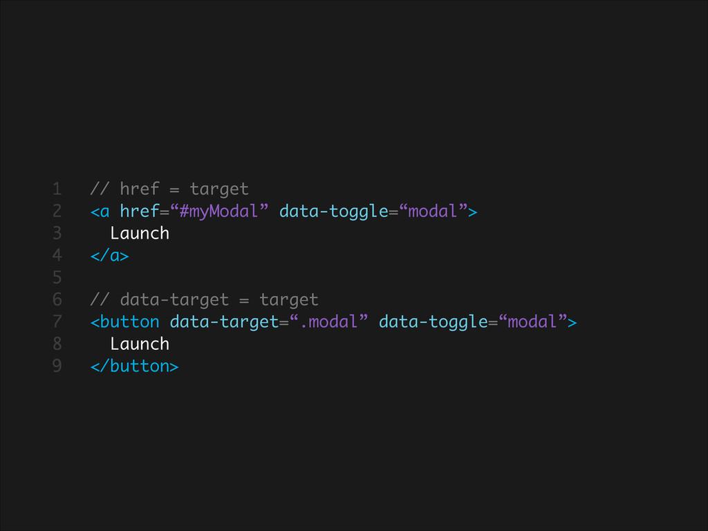 "// href = target <a href=""#myModal"" data-toggle..."