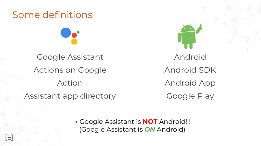 Some definitions Google Assistant Actions on Go...