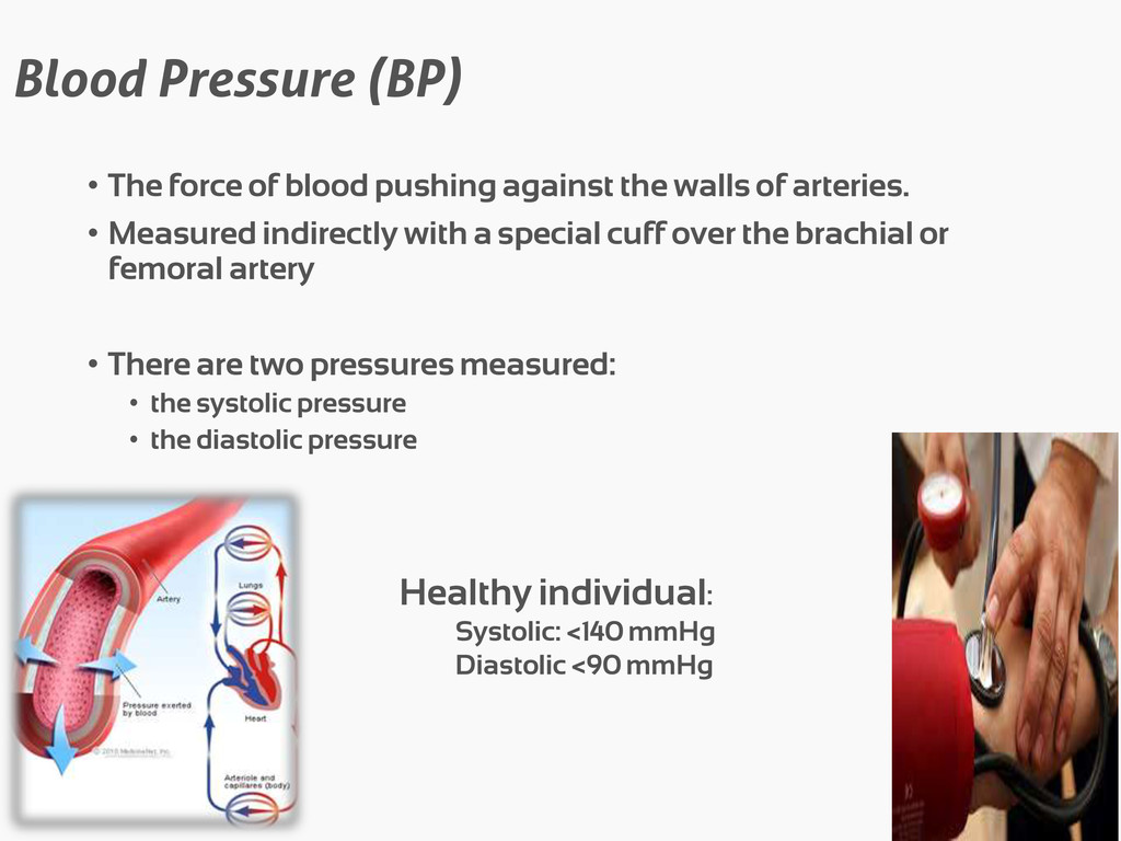 Blood Pressure (BP) • The force of blood pushin...