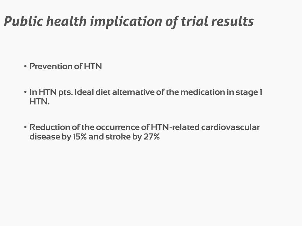 Public health implication of trial results • Pr...