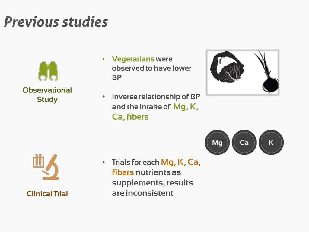 Previous studies Observational Study • Vegetari...