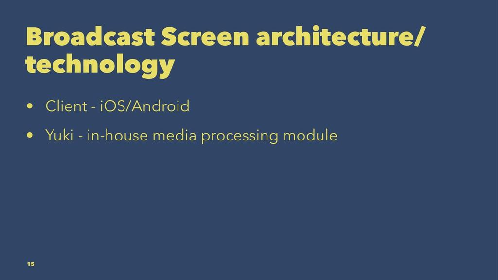 Broadcast Screen architecture/ technology • Cli...