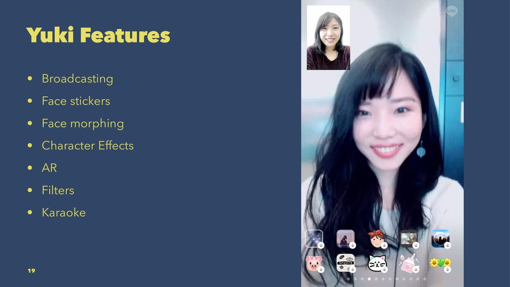 Yuki Features • Broadcasting • Face stickers • ...