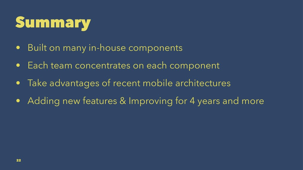 Summary • Built on many in-house components • E...