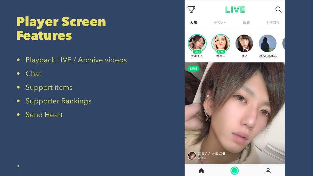Player Screen Features • Playback LIVE / Archiv...