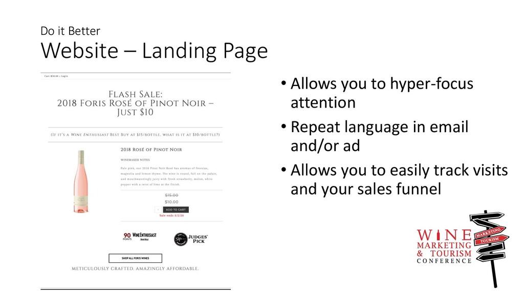 Do it Better Website – Landing Page • Allows yo...