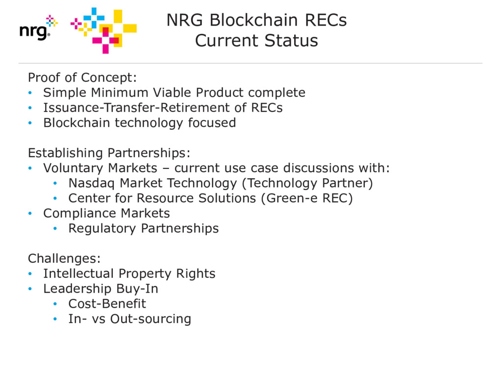 NRG Blockchain RECs Current Status Proof of Con...