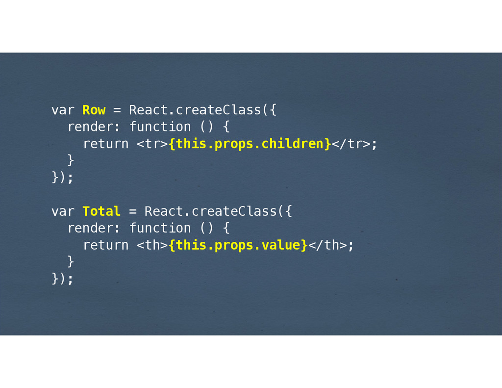 var Row = React.createClass({ render: function ...
