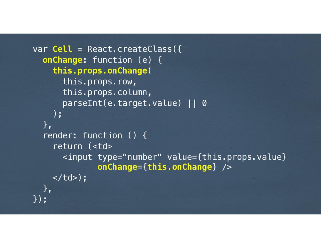 var Cell = React.createClass({ onChange: functi...