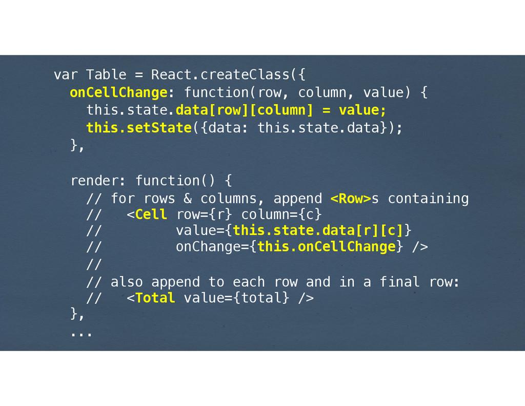 var Table = React.createClass({ onCellChange: f...