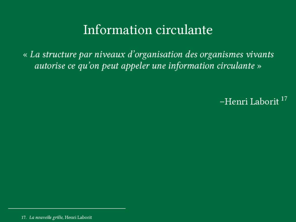 Information circulante « La structure par nivea...