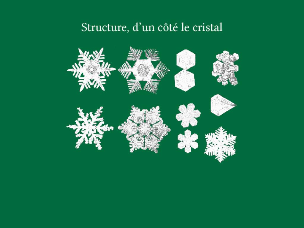Structure, d'un côté le cristal
