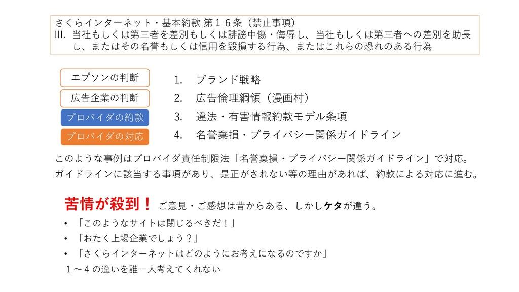 1. ブランド戦略 2. 広告倫理綱領(漫画村) 3. 違法・有害情報約款モデル条項 4. 名...