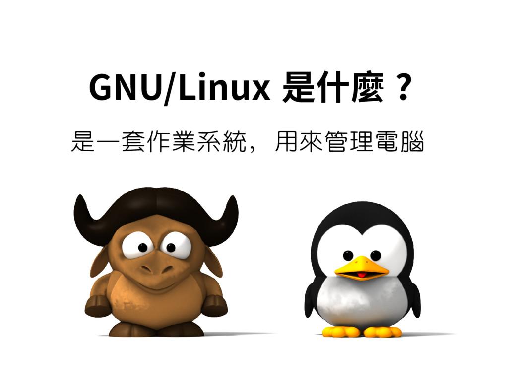 GNU/Linux 是什麼 ? 是一套作業系統,用來管理電腦