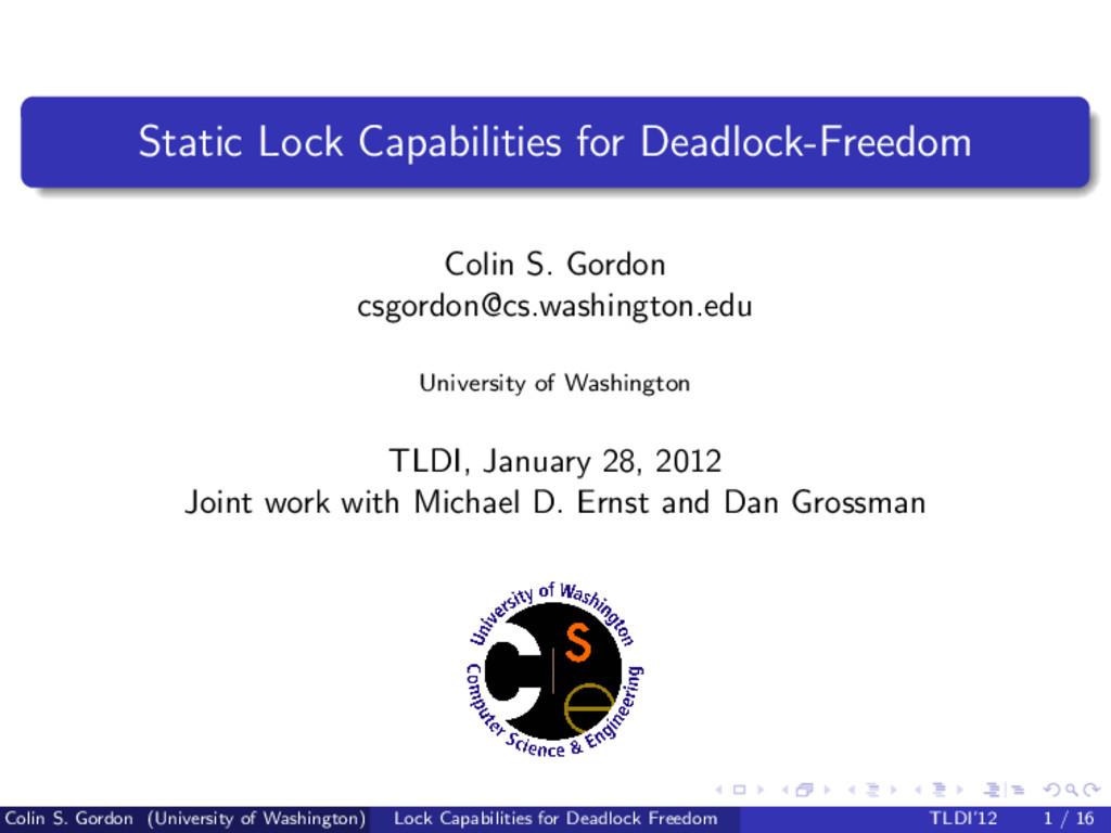 Static Lock Capabilities for Deadlock-Freedom C...