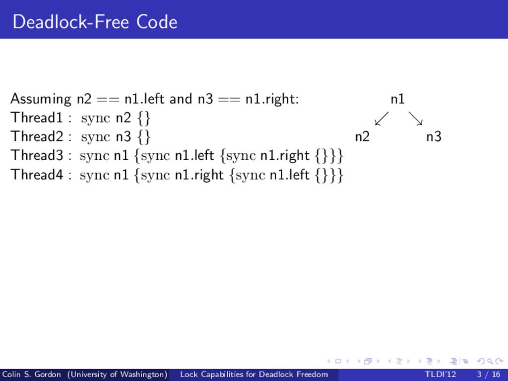 Deadlock-Free Code Assuming n2 == n1.left and n...