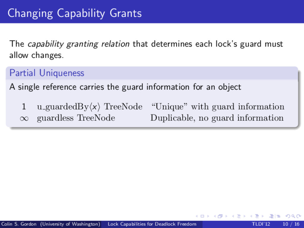 Changing Capability Grants The capability grant...