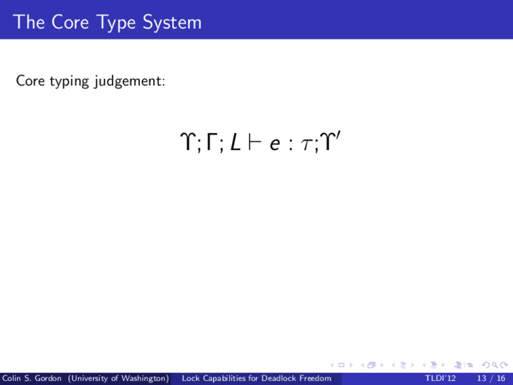 The Core Type System Core typing judgement: Υ;Γ...