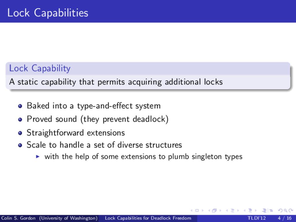 Lock Capabilities Lock Capability A static capa...