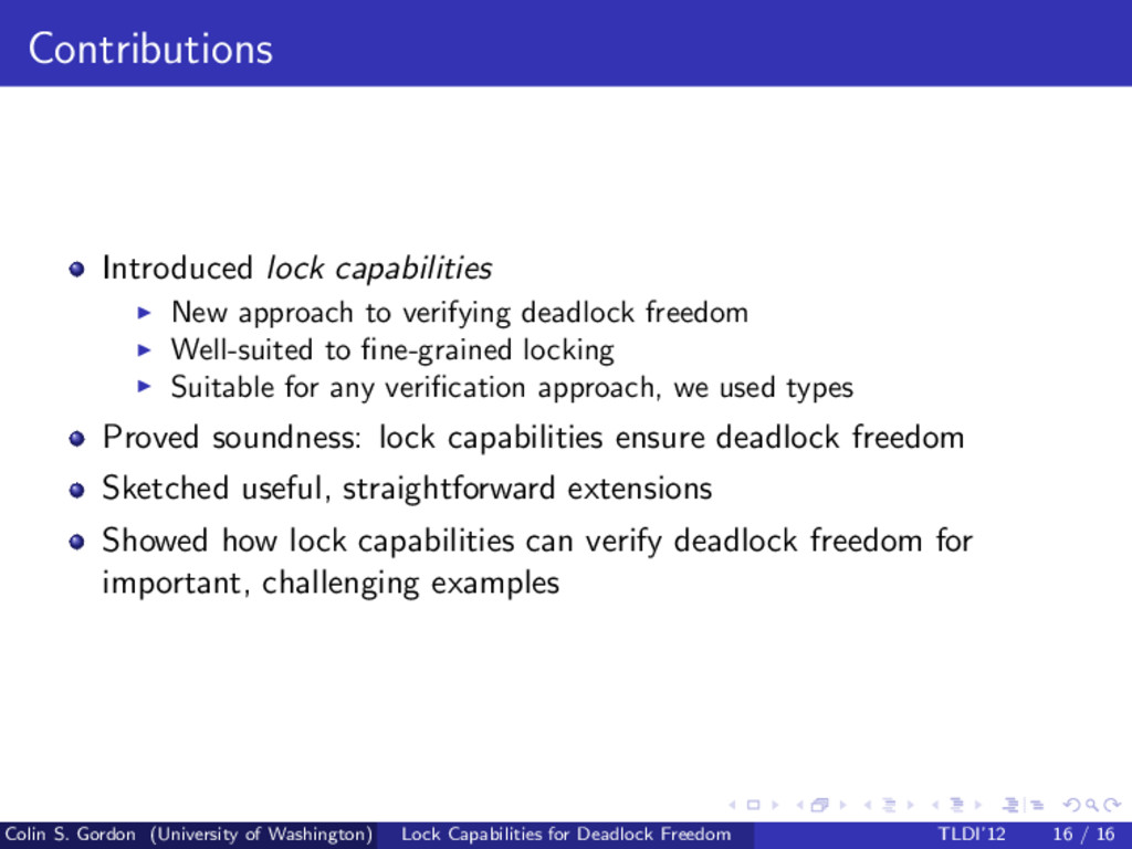 Contributions Introduced lock capabilities New ...