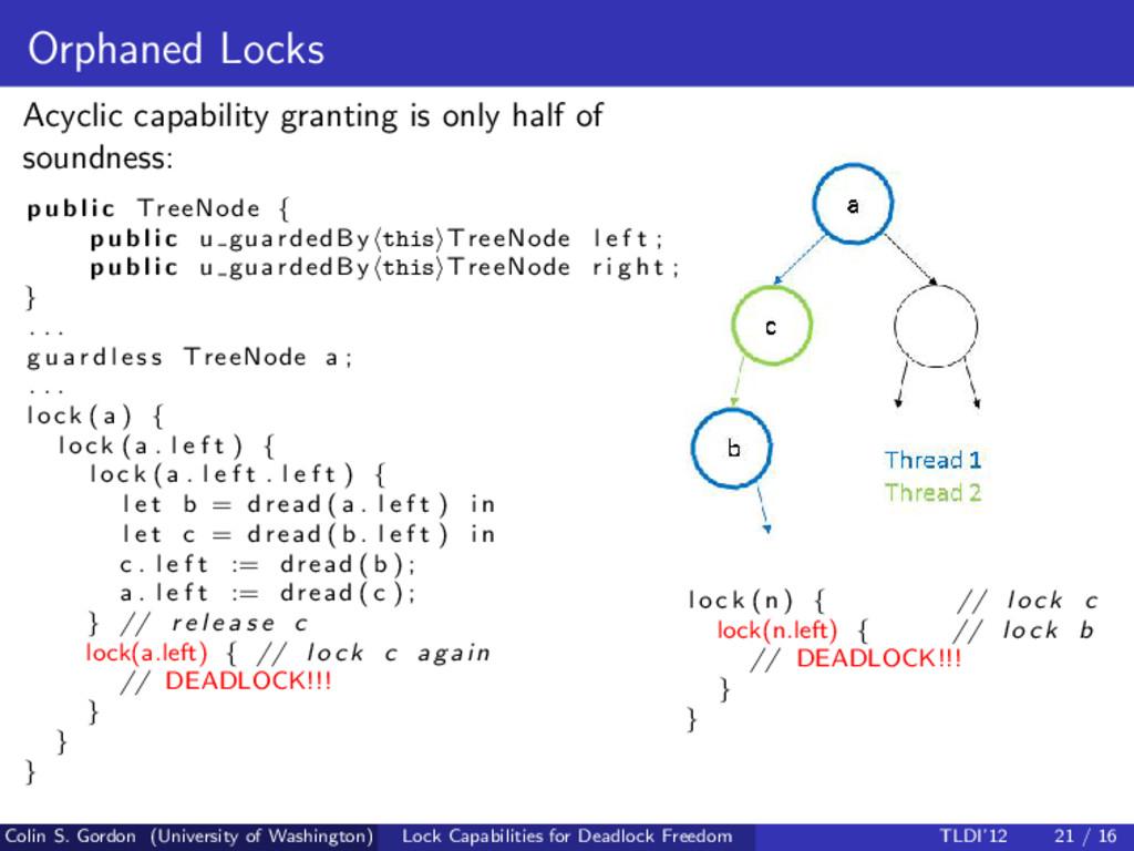 Orphaned Locks Acyclic capability granting is o...