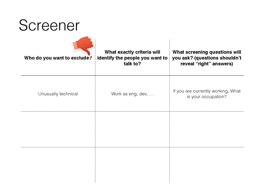 Screener Who do you want to exclude? What exact...