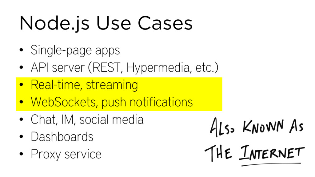 Node.js Use Cases • Single-page apps • API serv...