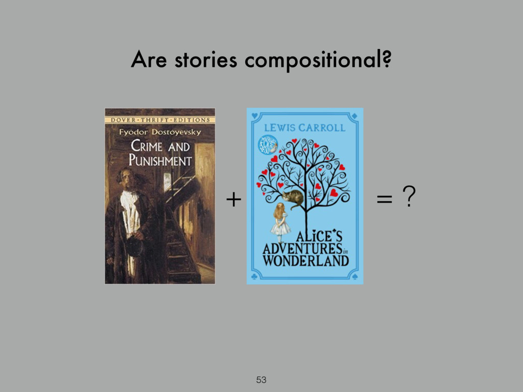 53 Are stories compositional? + = ?