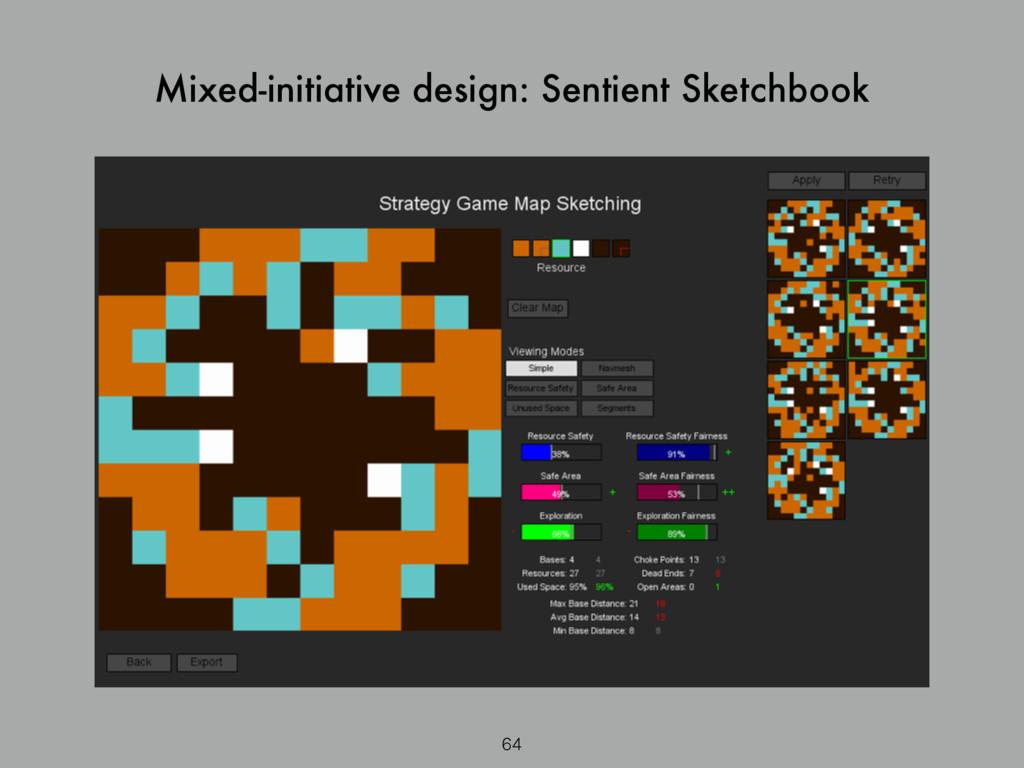 Mixed-initiative design: Sentient Sketchbook 64