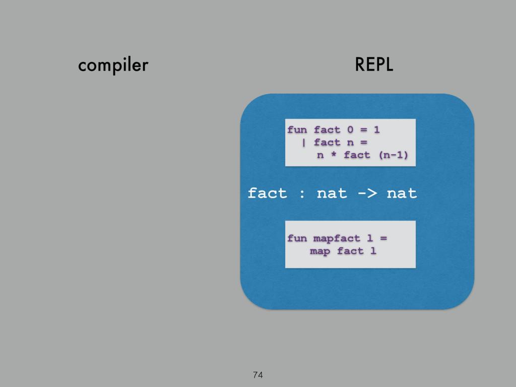 compiler 74 REPL fun fact 0 = 1   fact n = n * ...