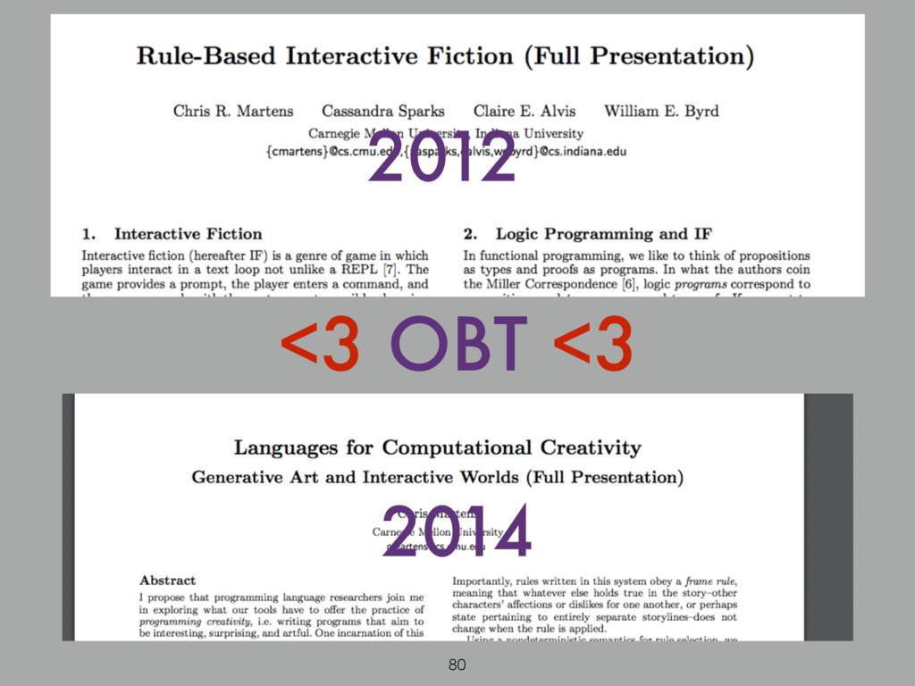 <3 OBT <3 2012 2014 80