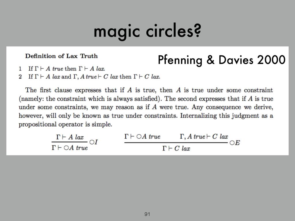 magic circles? Pfenning & Davies 2000 91