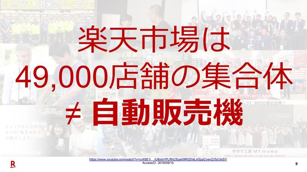 9 楽天市場は 49,000店舗の集合体 ≠ ⾃動販売機 https://www.youtub...