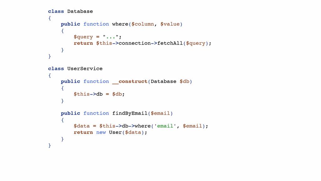 class Database { public function where($column,...