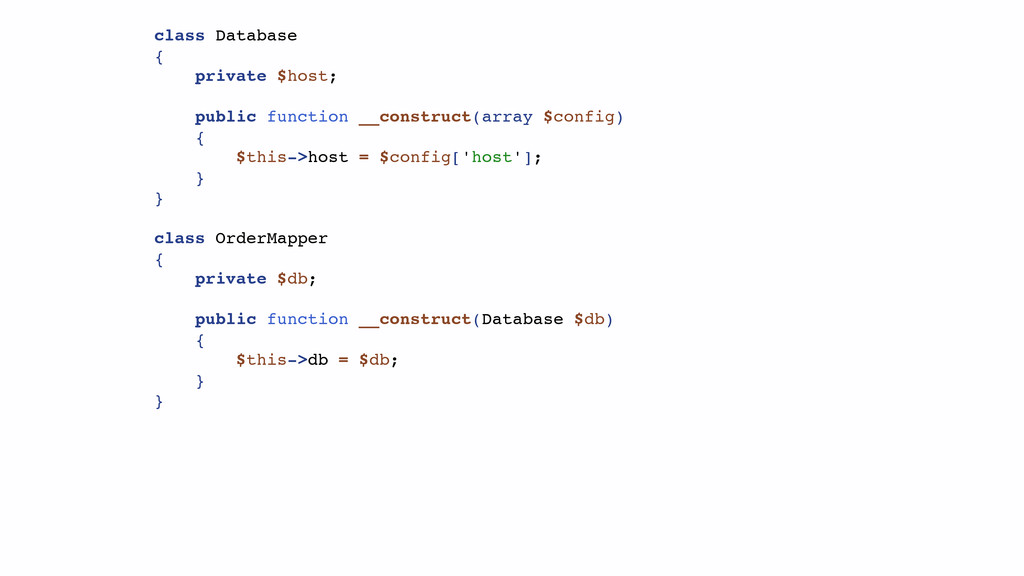 class Database { private $host; public function...