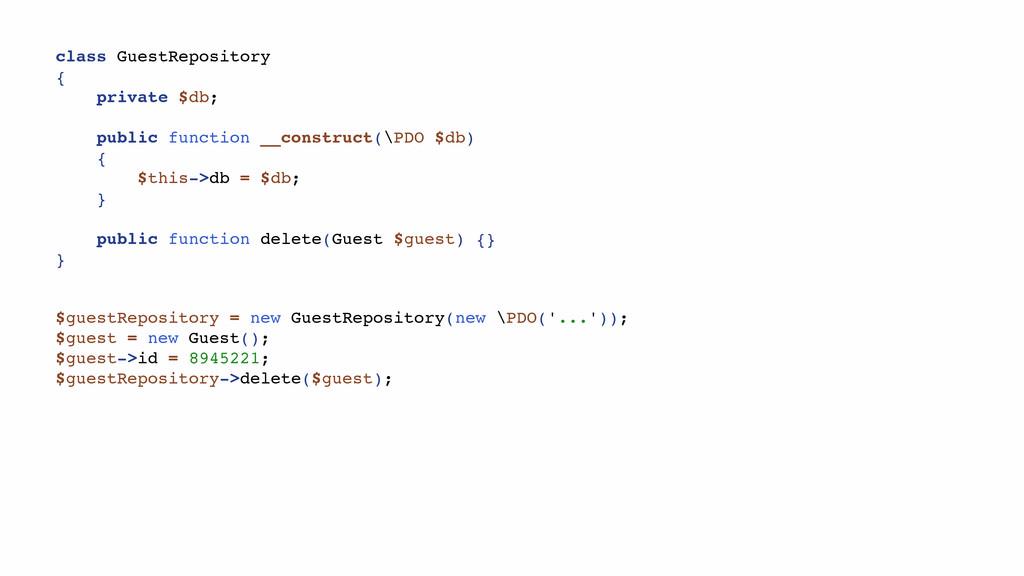 class GuestRepository { private $db; public fun...