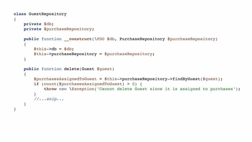 class GuestRepository { private $db; private $p...