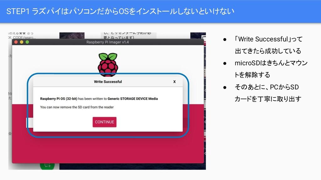 STEP1 ラズパイはパソコンだからOSをインストールしないといけない ● 「Write Su...