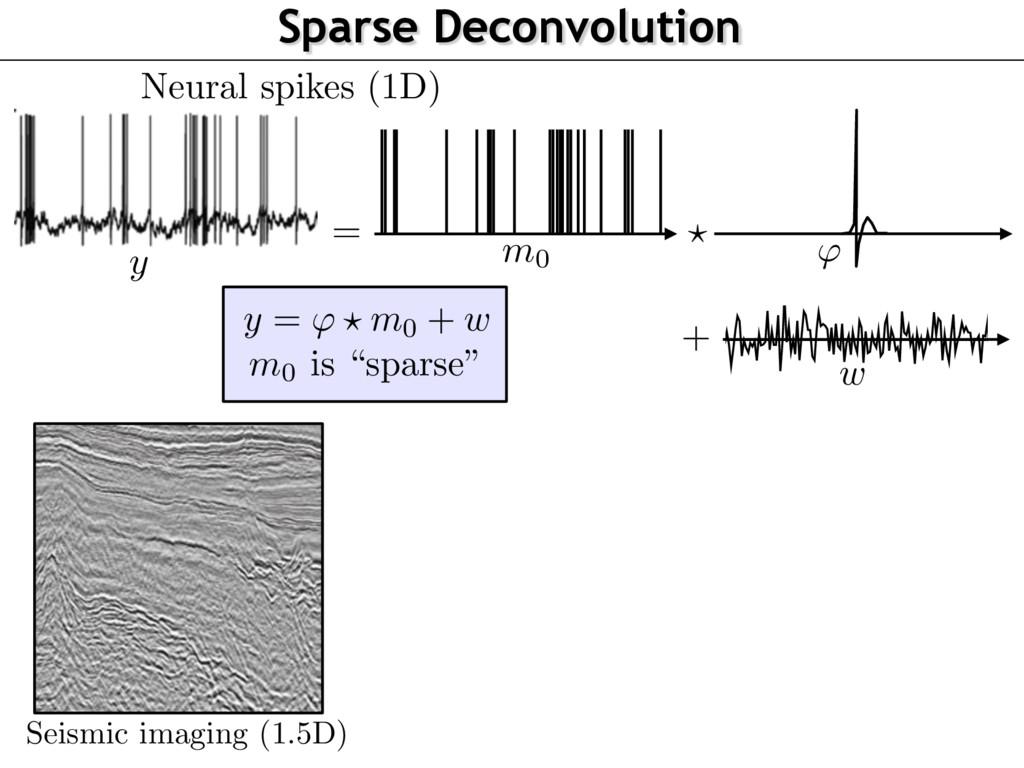 Sparse Deconvolution Neural spikes (1D) Seismic...